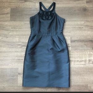 Banana Republic Grey Black High Neck Fitted Dress